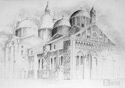 Drawing of cathedral. Rysunek katedry ołówkiem. www.kurs-rysunku.com.pl