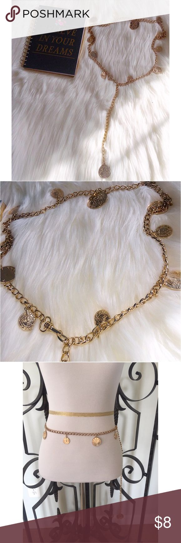 New Gold Coin Chain Belt New Gold Coin Chain Belt from H&M. Has adjustable clasp. Measures 44'. Perfect for Tunic tops and dresses. If you want it, make an offer ✅ I need to make room for new items so I love to negotiate. Bundle multiple items for the best savings. Pay one price of shipping 📦! Thanks for visiting.  😘 H&M Accessories Belts