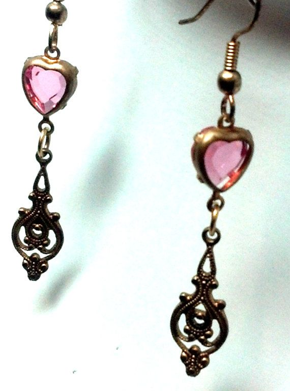 Pink Heart Filigree Drop Earrings by teresadelosh on Etsy