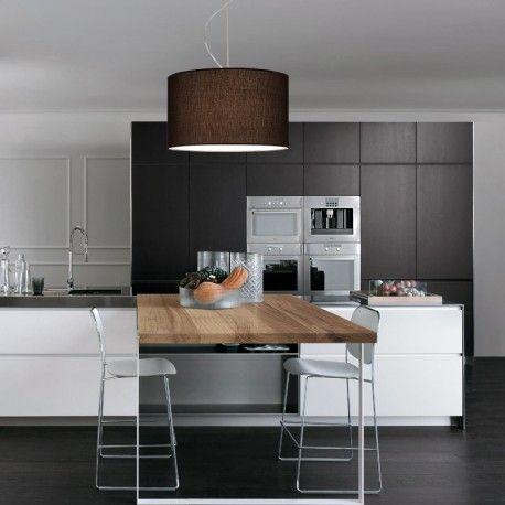 GUEST Lampada a Sospensione in Tessuto Moka D. 50 Design Moderno - Antea Luce