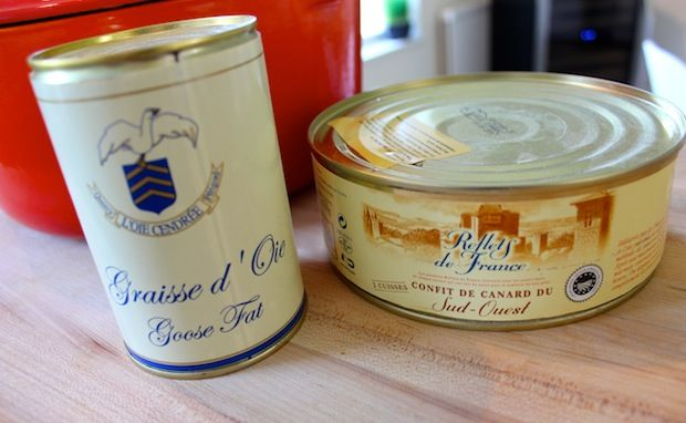 Gathering up some L'Oie Cendree Goose Fat (left) and Reflets de France duck confit (right) for my #cassoulet ... read more here: http://thechicbrulee.com/2013/09/04/authentic-french-cassoulet/
