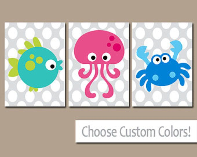 Ocean Sea Animals BATHROOM Wall Art, CANVAS or Prints Child Nautical Bathroom Boy Girl Bathroom Fish Octopus Crab Set of 3 Kid BATHROOM