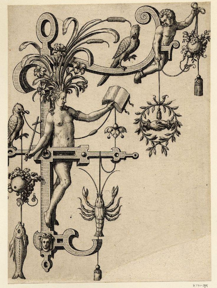 Nova Alphati effictio; Johann Theodor de Bry (Print made by); F; letter of the alphabet with a standing female nude (Fides) holding a book