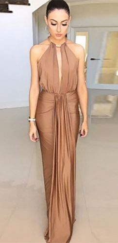Cleopatra Camel Brown Gold Sleeveless Plunge V Neck Halter Cut Out Back Ruched Draped Maxi Dress