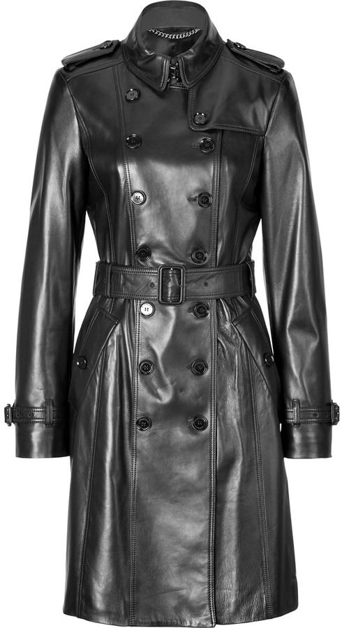 Black Leather Trenchcoat by Burberry. Buy for $3,145 from STYLEBOP.com