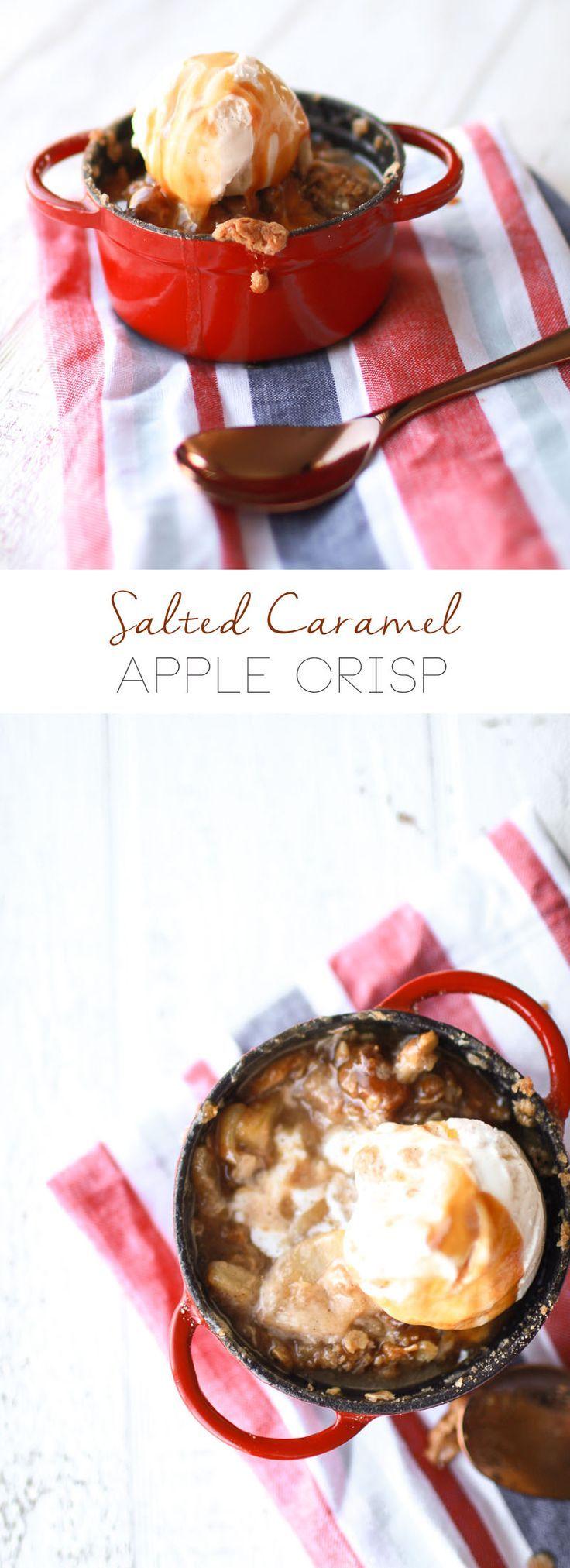 Salted Caramel Apple Crisp | homemade apple crisp recipe | dessert recipes using apples | apple dessert recipes | how to make homemade apple crisp | dessert recipe ideas | ideas for summer desserts || Oh So Delicioso