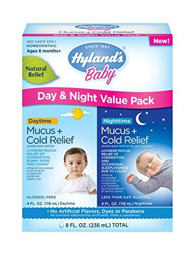 Hyland's Baby Mucus and Cold Relief Day & Night Value Pack, 8 Fluid Ounce  Safe, Effective, Natural Formula for babies 6 months +  Multi-symptom, natural relief without sleepy or stimulant side effects  Contains no Aspirin, Acetaminophen, Ibuprofen, Naproxen, Pseudoephedrine or Dextromethorphan  No artificial flavors, dyes or parabens