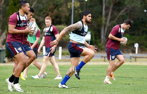 Jesse Sene Lafao in action during a Manly Sea Eagles NRL training session at Sydney Academy of Sport on July 24, 2014 in Sydney, Australia.
