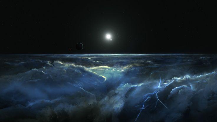 Скачать обои сияние, арт, буря, свечение, атмосфера, звезда, горизонт, пространство, мироздание, космос, тучи, шторм, свет, планета, спутник, звёздная россыпь, блики, раздел космос в разрешении 1920x1080