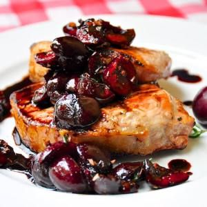 grilled-pork-loin-chops-with-balsamic-thyme-cherries/