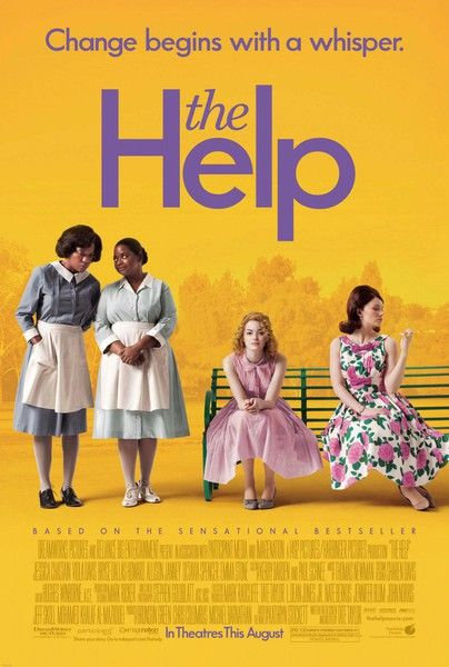 """The Help,"" (2011) is based on the book by Kathryn Stockett and  is about a young white woman, Eugenia ""Skeeter"" Phelan, and her relationship with two black maids, Aibileen Clark and Minny Jackson during Civil Rights era America (the early 1960s). Skeeter is a journalist who decides to write a book from the point of view of the maids. (Starring Emma Stone and Viola Davis.)"