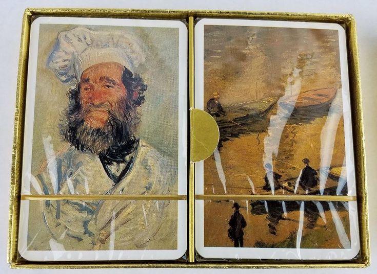 Claude Monet Playing Cards Platnik 2257 Two Sealed Decks Austria Pere Paul Boats #Platnik