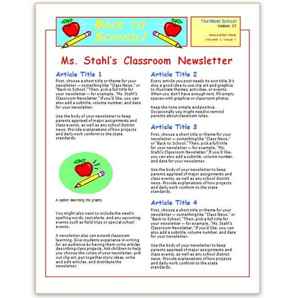 10 best School Stuff Newsletter ideas images on Pinterest Music - newsletter templates free microsoft word