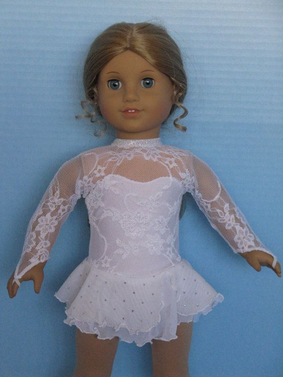 High-Collared White Lace Ice Skating Dress for American Girl Size Dolls