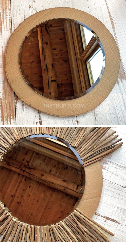 Easy Rustic DIY Home Decor Idea: Stick Framed Round Mirror ...