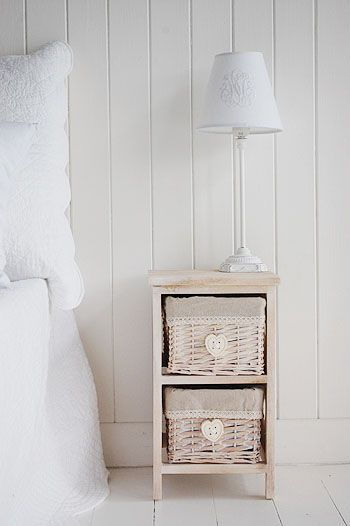 A Small Natural Coloured Bedside Table , Narrow Width Of 25 Cm With Cut Out  Hearts