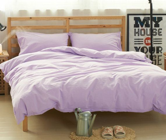 This luxurious and elegant look lavender purple duvet cover set handmade in natural linen will transform your bedroom and bring you peace