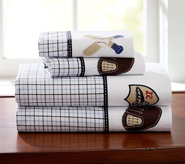 I love the Baseball Cuff Sheeting on potterybarnkids.com