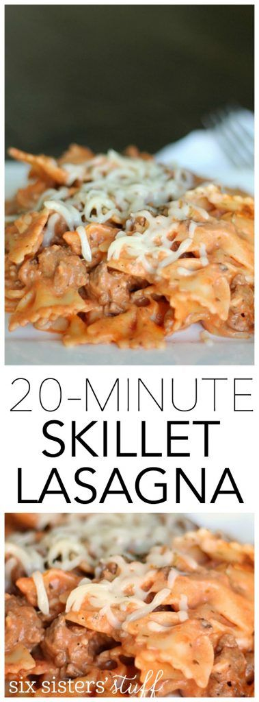 Easy Skillet Lasagna that can be made in just 20 minutes! Get the recipe on SixSistersStuff.com!