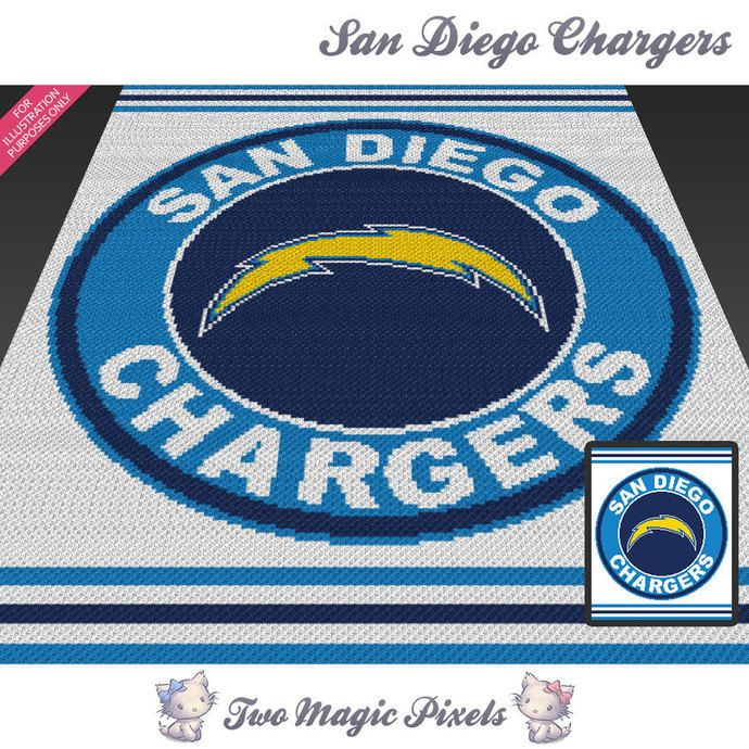 San Diego Chargers Blanket: San Diego Chargers Crochet Graph (Mini C2C, SC, HDC, DC