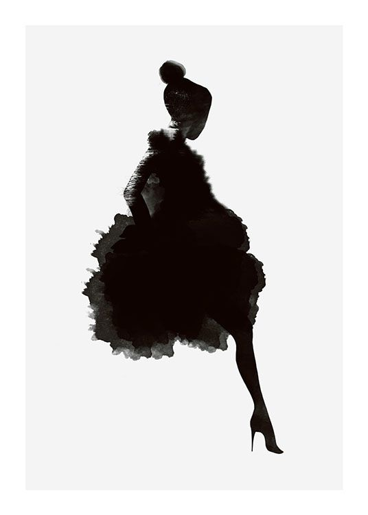 Schönes Poster, dunkle Silhouette auf grauem Hint…