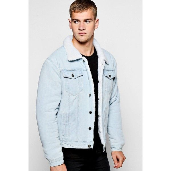 Boohoo Fully Borg Lined Denim Jacket (310 BRL) ❤ liked on Polyvore featuring men's fashion, men's clothing, men's outerwear, men's jackets, men's sherpa lined jacket, mens parka jacket, mens lined denim jacket, mens white denim jacket and mens padded jacket