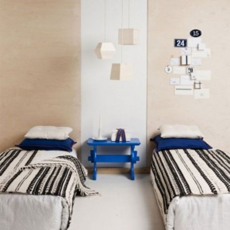 Minimalist Style Shared Twin Kids Bedroom With Double Bed And Blue Bedside  Table And Beige Wall · Wall Art DecorVinyl ...