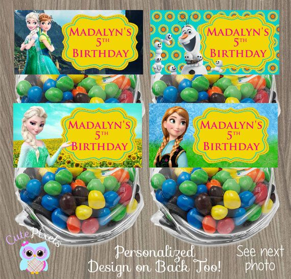 Frozen Fever Bag Toppers Frozen Treat Bag Disney by CutePixels