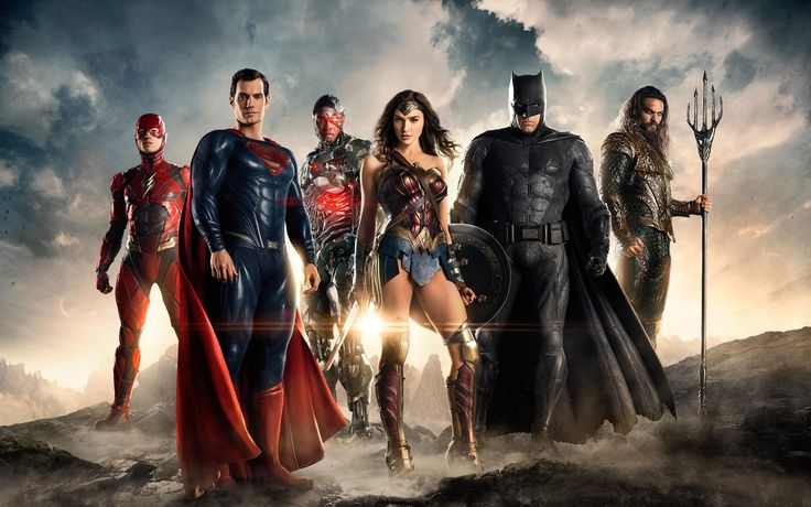 """""""Justice League"""" promo still, 2017.  L to R: Ezra Miller, Henry Cavill, Ray Fisher, Gal Gadot, Ben Affleck, Jason Momoa.  This DC comics adaptation - touted by many to be the mother of all comic book movies to date - will be released on November 17, 2017."""