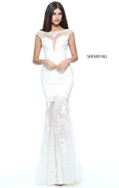 2017 Sherri Hill 51186 Ivory Lace Applique Open Back Prom Gown Online Sale