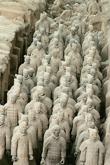 "The Terracotta Army or the ""Terra Cotta Warriors and Horses"", is a collection of terracotta sculptures depicting the armies of Qin Shi Huang, the first Emperor of China. pinterest.com/lindasuebear"