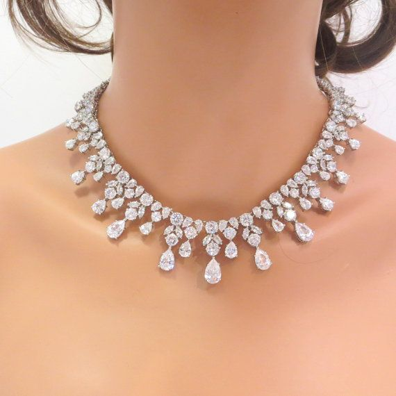 Bridal statement necklace and earrings by TheExquisiteBride, $169.00