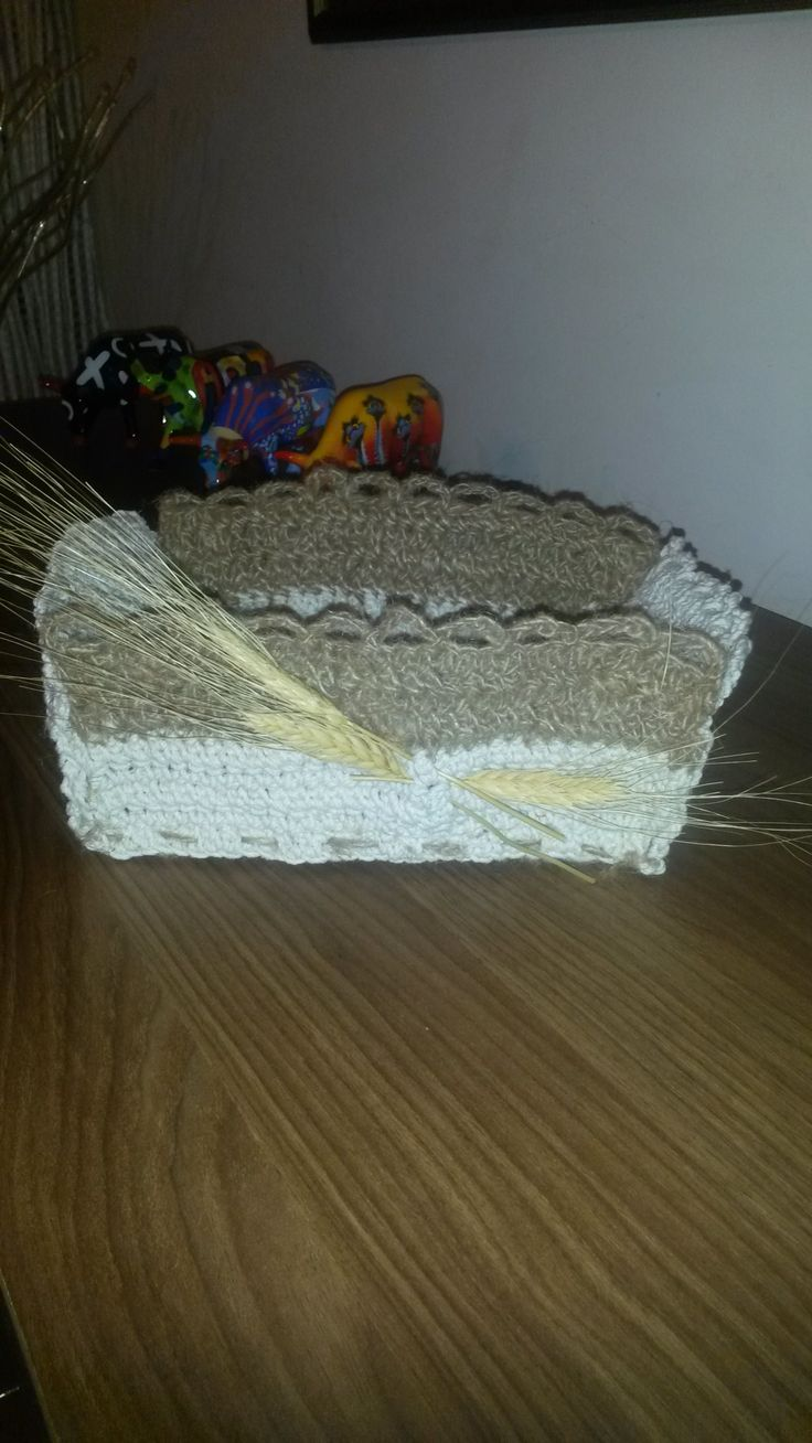 My new creation!!  Basket for bread! Crochet