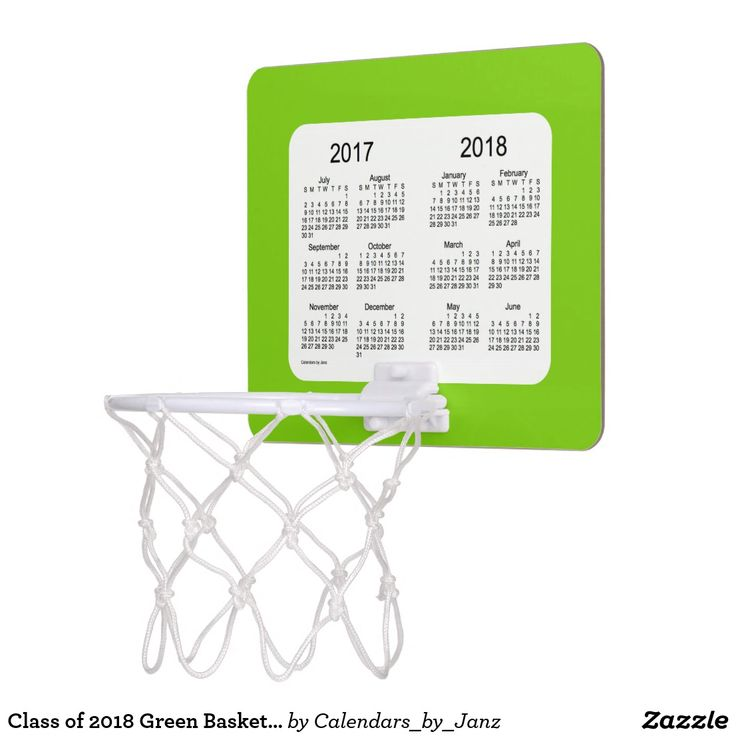 Class of 2018 Green Basketball Calendar by Janz Mini Basketball Backboard