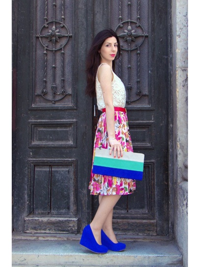 love the bold colors: Shoes, Lace Flowers, Floral Skirts, Color Blocked Extras, Fashion Inspiration, Closet, White Lace Tops, Bold Colors, Else S Style