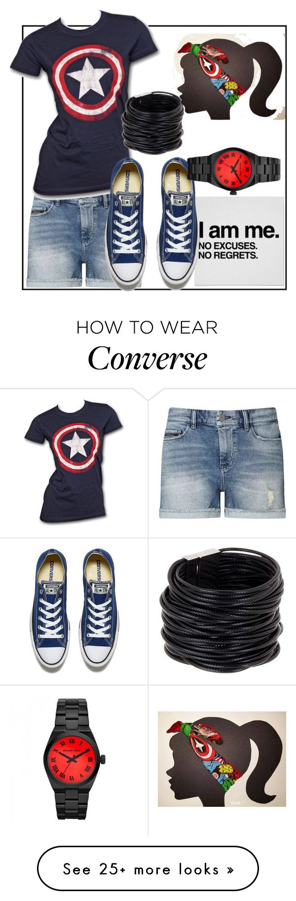 """Captain America ~"" by bakerstreetbelle on Polyvore featuring Calvin Klein, Marvel, Converse, Saachi, Michael Kors, converse, movies, marvel, CasualChic and comics"
