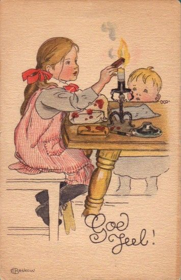 Elsa Beskow - Swedish (1874-1953) vintage Christmas postcard.