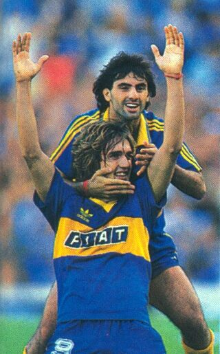 Gabriel Batistuta and Diego Latorre (Boca Juniors). At international level, Batistuta is Argentina's all-time leading goalscorer, and he played at 3 World Cups. In 1999, Batistuta was 3rd in the FIFA World Player of the Year awards. In 2004 he was named in the FIFA 100 list of the Top 125 greatest living footballers.  With an all-round game with clinical finishing, heading and free-kick taking abilities, he is known as one of the most complete strikers of his generation.
