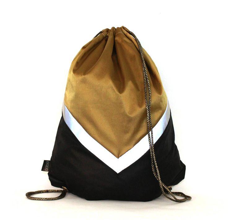 Black Gold  waterproof drawstring bag backpack reflective tape Biking bag by PopaStore on Etsy