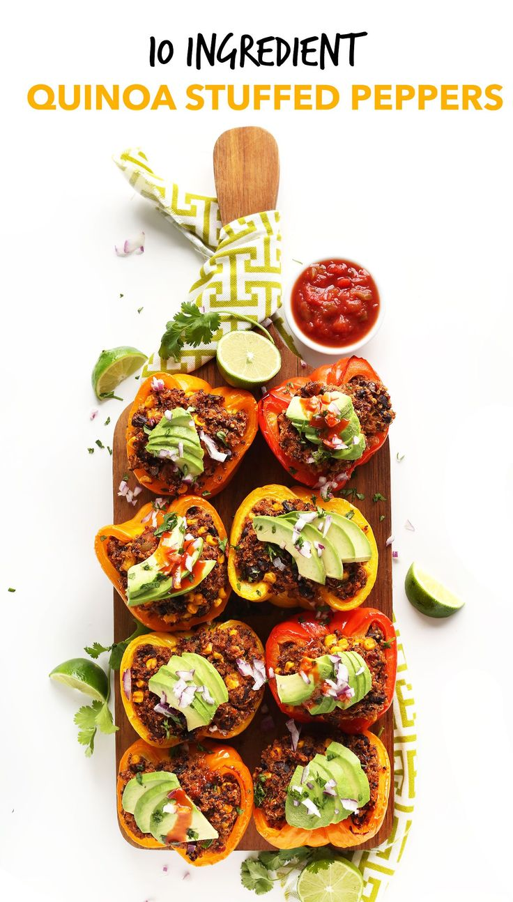 AMAZING Spanish Quinoa Stuffed Peppers! 10 ingredients, packed with protein and fiber, and SO flavorful! #vegan #glutenfree #recipe