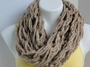 Beige Chain Infinity Scarf / Chunky Neckwarmer / Cowl Infinity Knit