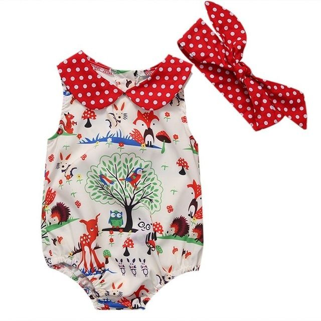 Cute Newborn Baby Girl Clothes 2017 Fox Print Romper Baby Bodysuit +Headband 2PCS Outfits Bebek Giyim Sunsuit Clothes