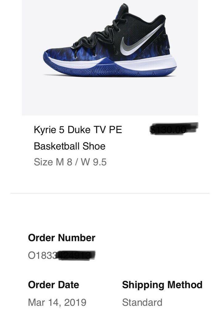 more photos d51bb 736e3 Nike Kyrie 5 Duke TV PE Size 8 Blue Black White 2019 JUST RELEASED RARE SIZE