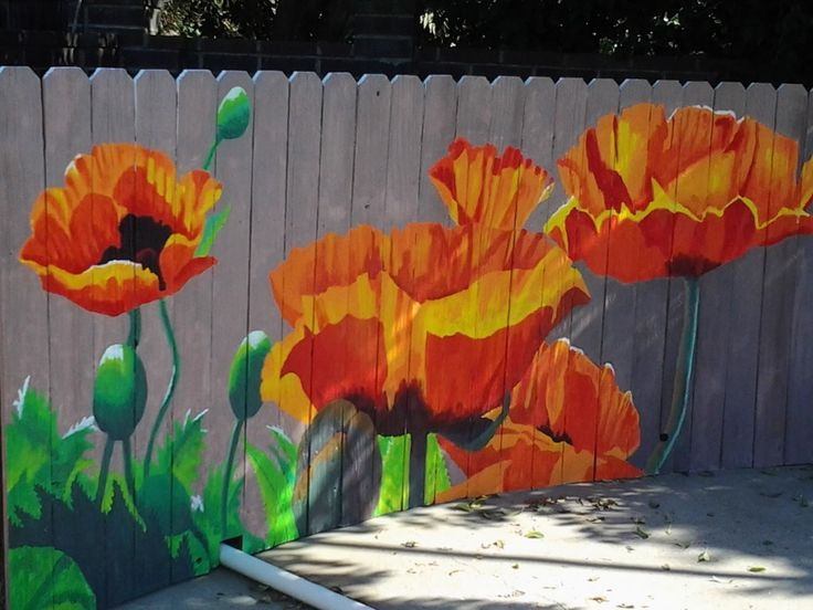 wooden fence mural - Kat Henolson feel like helping me paint this next summer Read More at: botgardening.blogspot.com