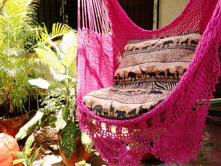 Fuchsia Sitting Hammock with Fringe Hanging Chair door hamanica, $44,00