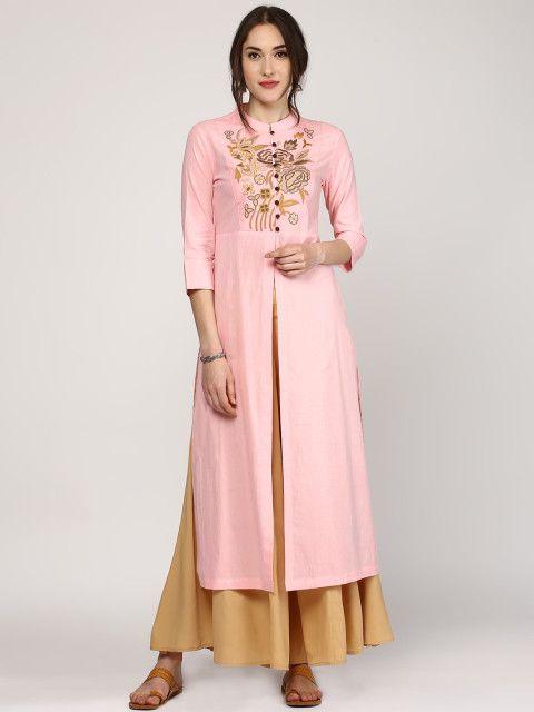 cd9f623fc7 Buy SASSAFRAS Women Pink Embroidered Kurta - Kurtas for Women | Myntra