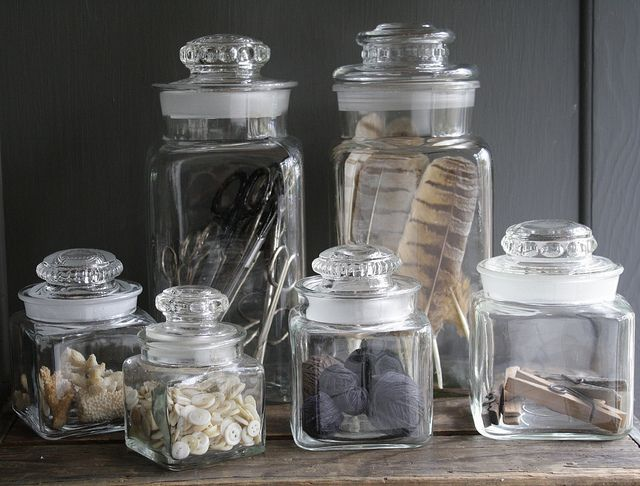 Vintage Clear Glass Candy Jar Container