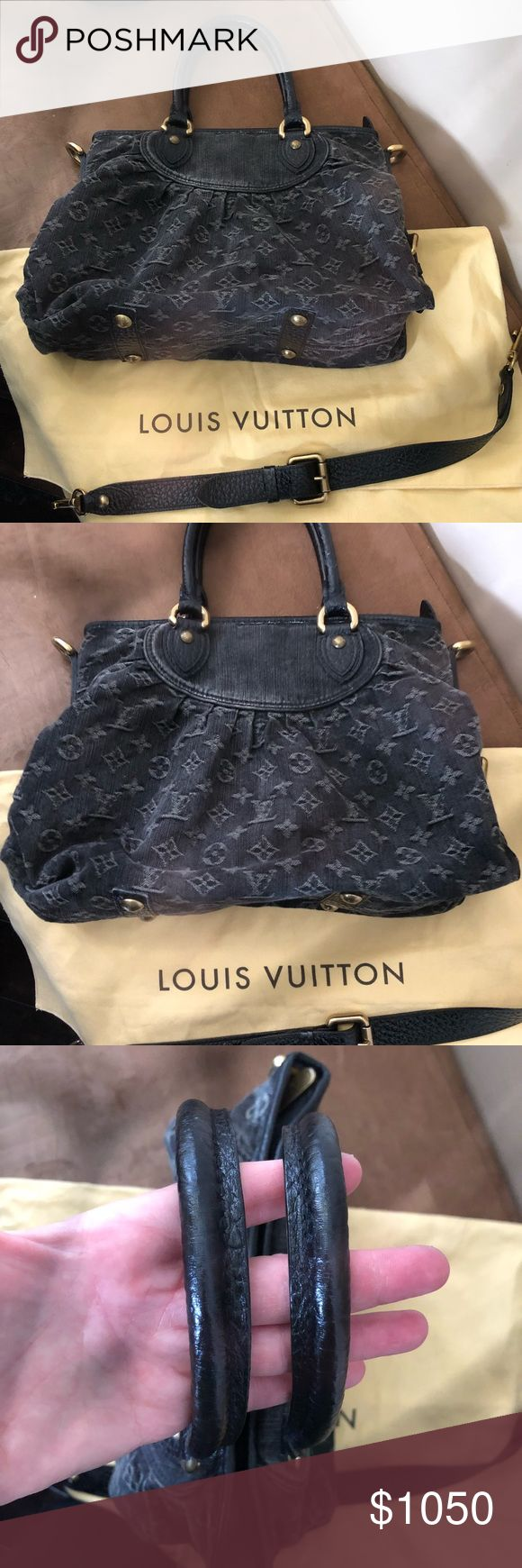 💯% AUTHENTIC LOUIS VUITTON BAG Authentic Louis Vuitton Black Denim Monogram Neo Cabby shoulder bag. Bag is in great condition!  Comes with removable/adjustable strap and dustbag.  Small pen marks inside (shown in photos). Louis Vuitton Bags Shoulder Bags