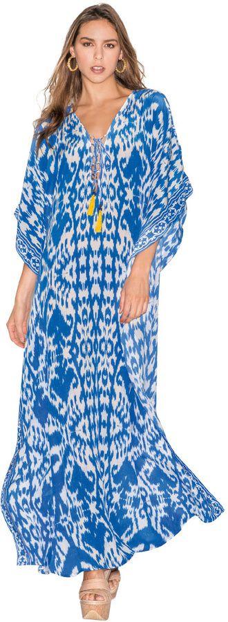 Caffe Swimwear Long Kaftan Dress in Blue on shopstyle.com