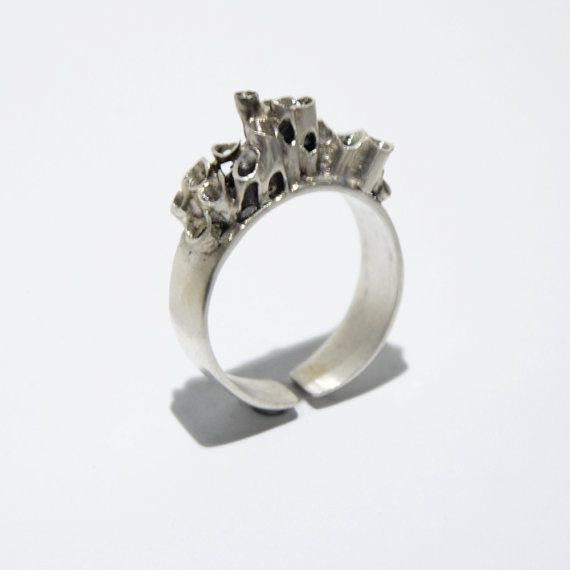 Modern hollow tube sterling silver ring by JRajtar on Etsy